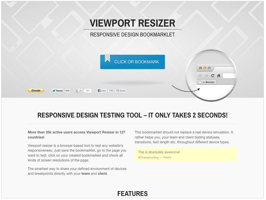 Viewport Resizer 书签工具