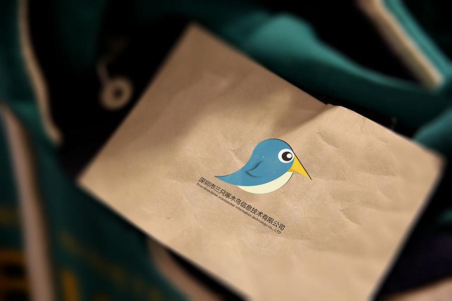 三只啄木鸟牛皮纸手提袋设计