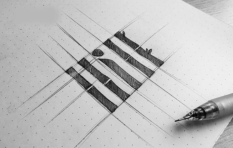 普陀村LOGO设计草图