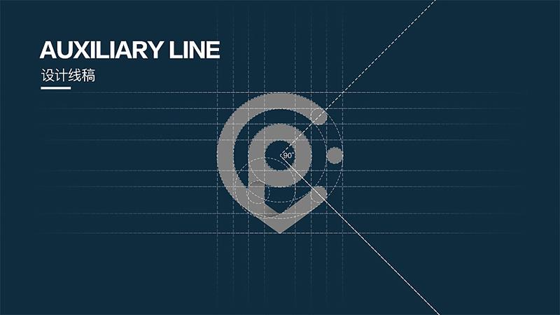 logo 设计线稿 auxiliary line 标志方案一 ——绿色的45度渐变体现图片